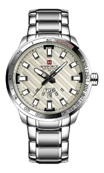 Relógio De Luxo Naviforce Prata, Aço Inox, Relógio De Luxo