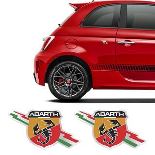 Par De Emblemas Abarth Fiat 500 Punto Bravo Adesivo Resinado