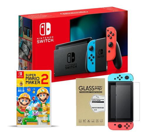 Nintendo Switch Neon Super Mario Maker 2 + Vidrio Macrotec