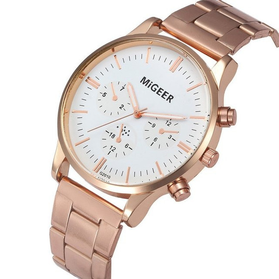 Relógio Migeer Masculino Quartz Dourado Visor Prata Barato