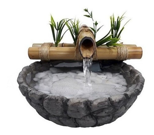 Imagem 1 de 1 de Fonte/agua/cascata/bambu Mini Base Resina Imitando Pedra 01