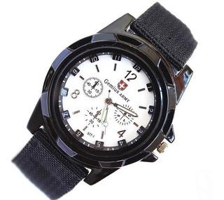 Reloj Pulsera Gemius Army Militar Tela Ejercito Negro Blanco