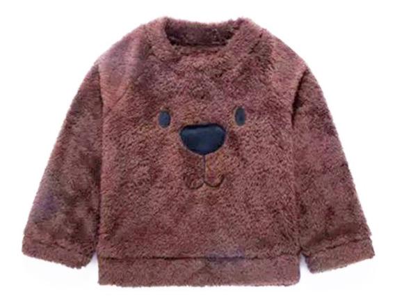 Blusa Inverno Moletom Casaco Infantil Urso Plush Peluciado