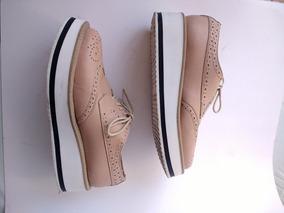 Zapatos Oxford Plataforma Palo De Rosa
