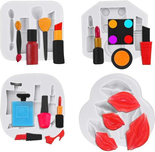 4 Piezas De Maquillaje Tema Silicona Moldes Labios Perfume L