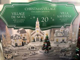Villa Navideña Musical E Iluminada 20 Piezas - Navidad
