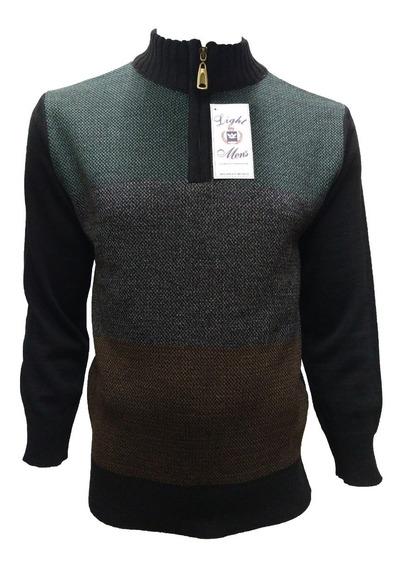Suéter Negro Con Verde Gris Y Dorado Medio Cierre