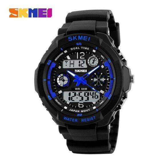 Relógio Esportivo Militar Masculino Skmei S-shock 0931 Led Digital Azul Mergulho Alarme Cronometro Quartz Original