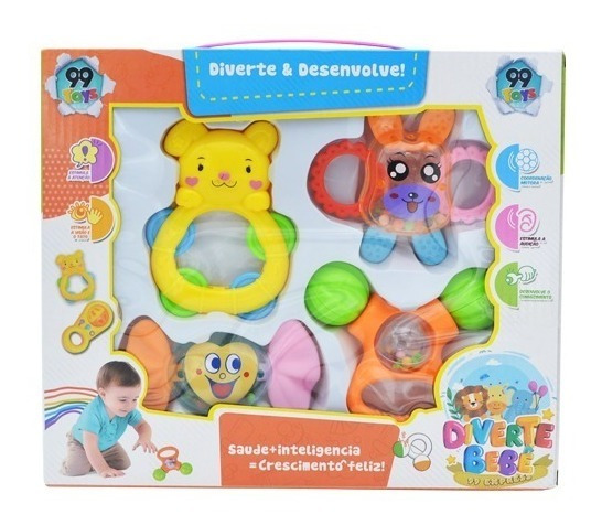 Kit 4 Chocalho Infantil Baby Animais Sortidos Brinca Bebe