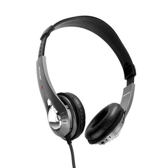 Fone De Ouvido Multilaser Headset Preto E Prata Microfone