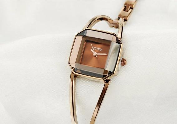 Relógio Feminino Pulseira Quartzo Aço Inoxidável Marron Luxo