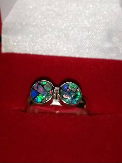 Anel Com Opalas Mosaico Aro 16