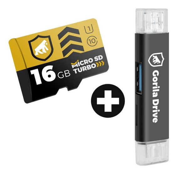 Cartão De Memória 16gb Turbo + Adaptador Otg Micro Usb - Gs