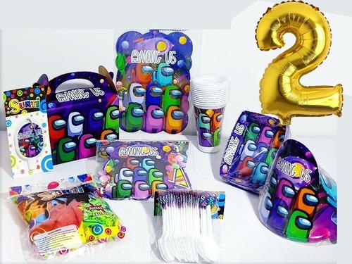 Kit  Decoracion Among Us Para 12 Niños + Obsequio