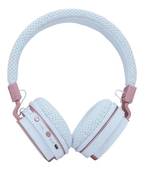 Headphone Bluetooth Branco Champagne Mp3 Fm Atende Ligação