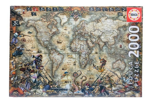 Puzzle Mapa De Piratas X 2000 Piezas Educa Ar1 18008 Ellobo