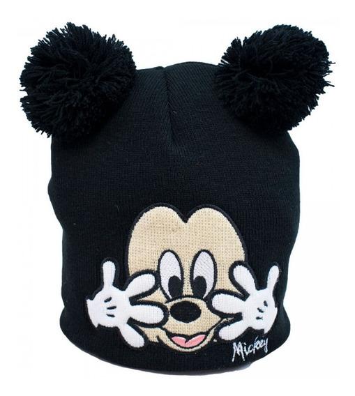 Touca Gorro Infantil Preto Mickey Pompom Disney