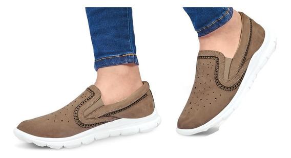 Calzado Zapato De Moda Dama Mujer Confort Piel Taupe