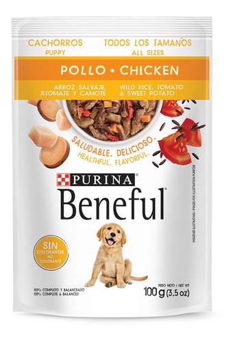 Imagen 1 de 1 de Alimento Beneful Perro Cachorro Pollo Arroz Verduras 100 Gr.