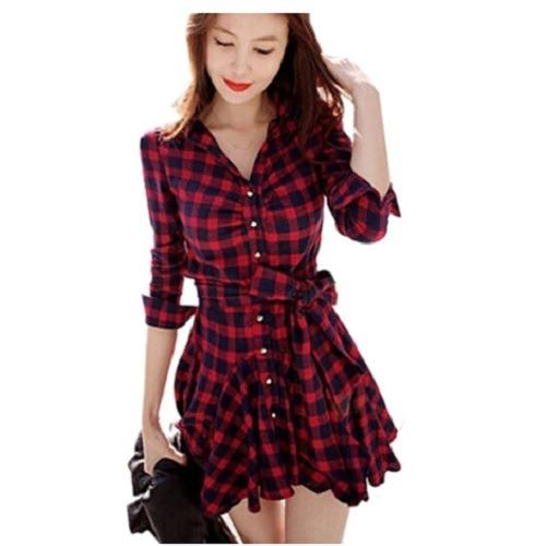 Vestido Xadrez Vermelho -pronta Entrega