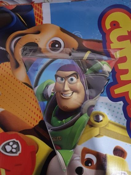 Banderin Toy Story Woody Buzz O 12 Botón Metálico Fiesta