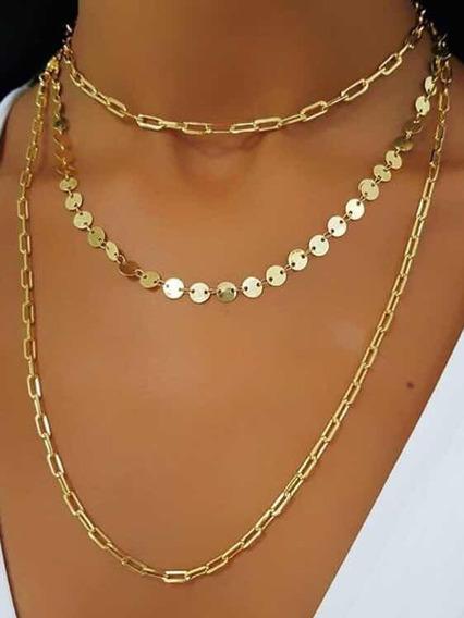 Colar Longo Modelo Cartier Folheado A Ouro 60cm