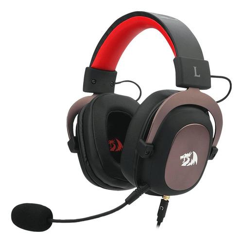 Fone de ouvido gamer Redragon Zeus black e red