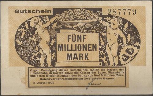 Alemania Regional Railroads 5 Millone Mark 15 Ago 1923 S1102