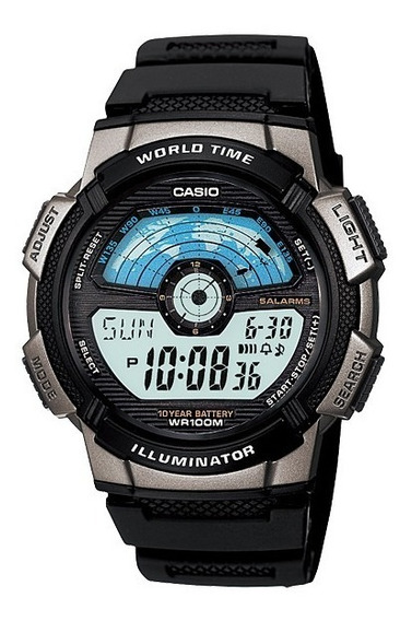 Relogio Casio Ae-1100w-1avdf Mapa Azul