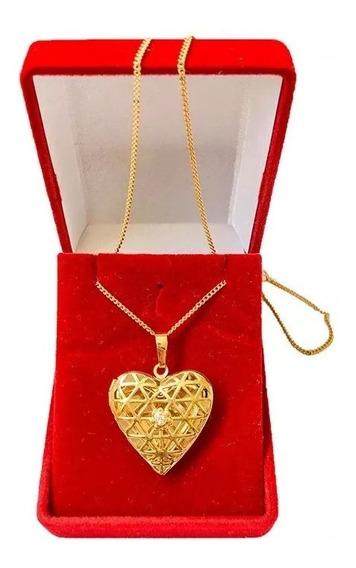 Colar + Pingente Coração Relicário 18k Banho Ouro Modelo 015