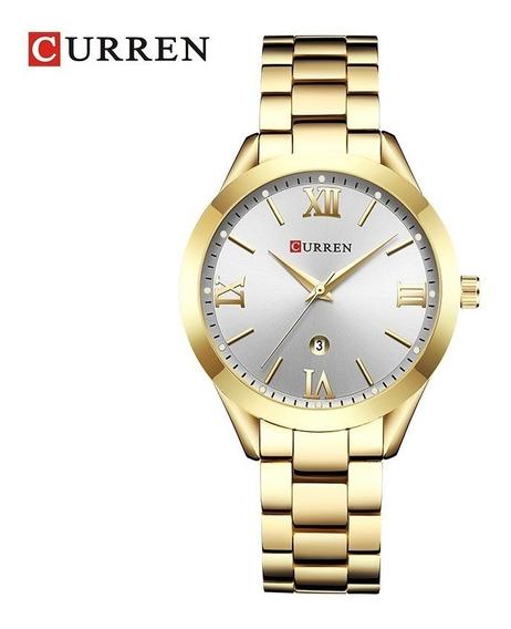Relógio Feminino Curren 9007 Dourado Rosê Luxo Frete Grátis