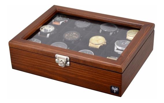 Estojo Caixa Para 12 Relógios Em Madeira Maciça - Total Luxo