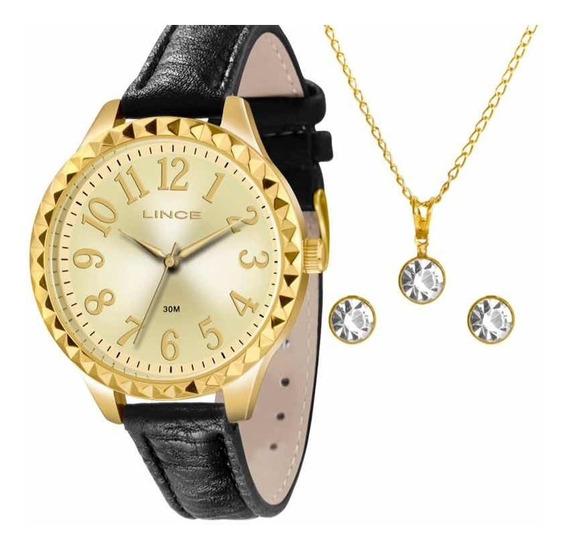 Kit Relógio Lince Analógico + Conjunto Folheado A Ouro 18k