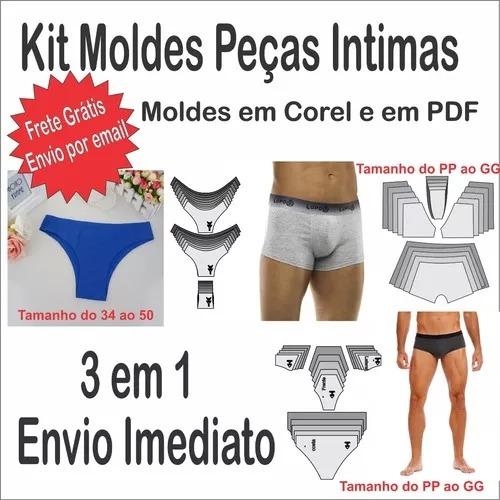 Kit Moldes Modelagem Pecas Intimas Calcinha E Cuecas 3 Em 1 R
