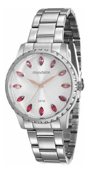 Mondaine Relógio Marcadores Em Cristais Prata