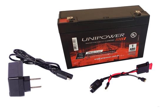 Kit Bateria 6v 12ah + Carregador + Chicote - Moto Elétrica