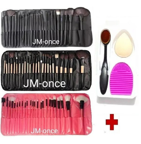 Pinceles De Maquillajes + Brocha Oval + Brushegg + Esponja .