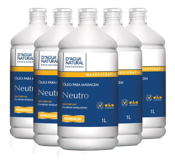 Kit 5un Óleo Para Massagem Corporal Neutro 1lt Dágua Natural