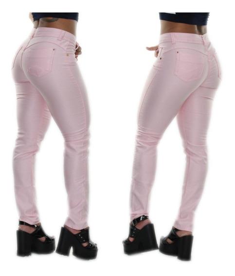 Calça Jeans Feminina Skinny Cós Baixo Justa Rosa