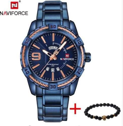 Relógio Masculino Azul Naviforce Nf9117 Brinde Original