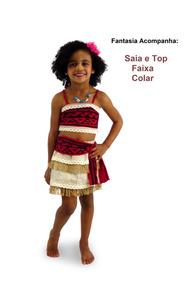 Vestido Infantil Fantasia Princesa Moana Colar Frete Grátis