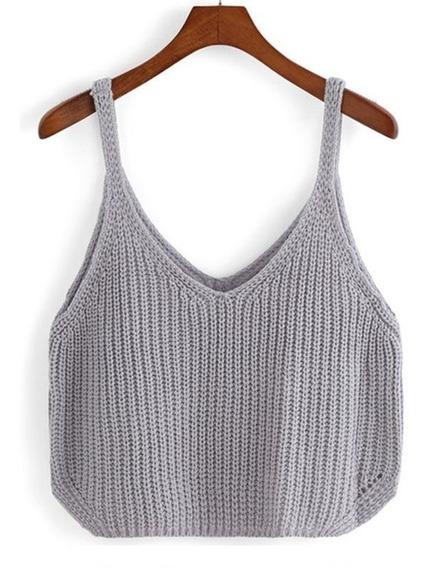 Blusa Regata Top Cropped Tricô Crochê Decote Blogueira Verão