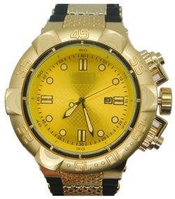 Relógio Masculino Pesado Dourado C/ Calendário Frete Grátis