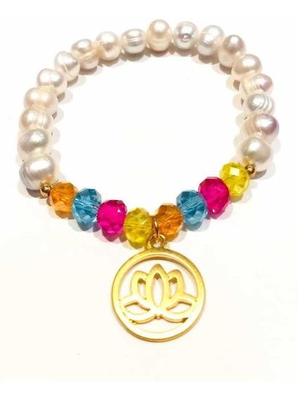 Pulsera De Perla Chapa De Oro Cristales Moda Dama