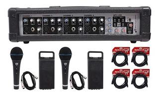 Rockville Rpm45 2w Potenciados 4 Ch. Pro Mixing Amplifica