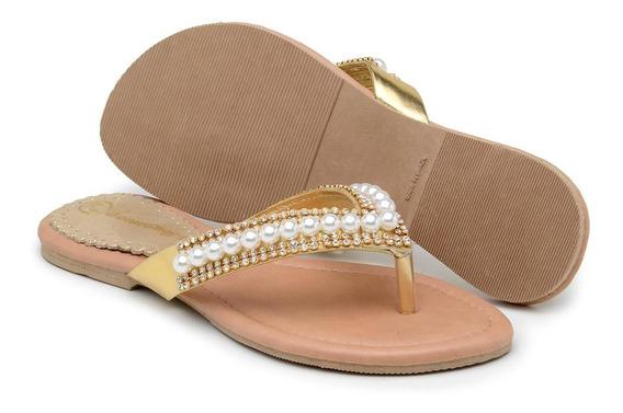Rasteirinha Casual Feminina Couro Gomes Shoes Detalhe Pérola