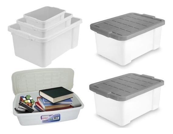 Kit Caixa Organizadora Container Multiuso De 40 25 15 Litros