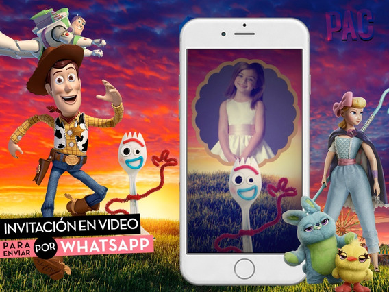 Toy Story 4 Con Forky! Video Invitación Para Whatsapp Pac