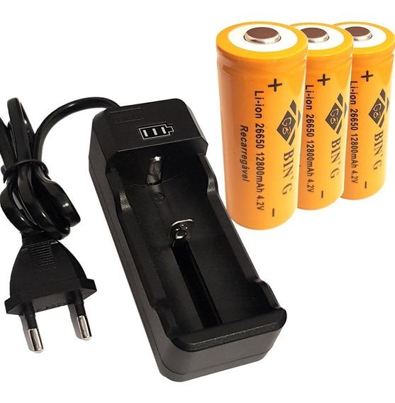 Kit Carregador + 3 Bateria 26650 12800mah P/ Lanterna X900