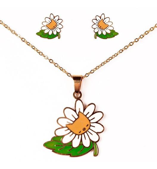 Cadena Collar De Flor Y Gatitos Con Aretes De Acero Inox